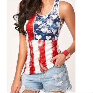 Hearts and stripes Merica' Tee